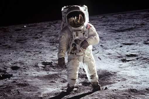 An astronaut taking one small step for man, one giant leap for mankind. On July 20th, 1969, the Apollo 11 spaceflight was the first to land humans on the moon.  Image used under fair use. No attribution was required for this image.