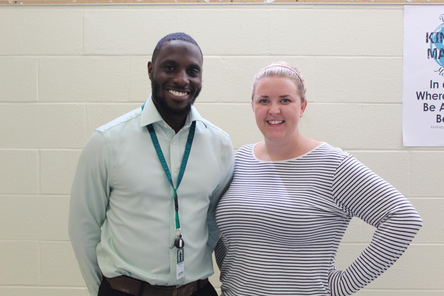 Teachers Mrs. Miller and Mr. Senesse are both new to Weddington this year, moving from England through a teacher exchange program. Mrs. Miller and Mr. Senesse represent just two of the twenty teachers new to Weddington this year.