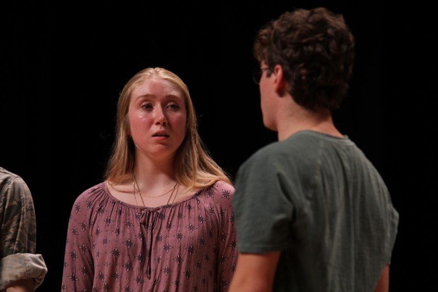 A young Nora, played by Arianna Schilder, is stunned by the news that her son has died in Vietnam. Arianna won an excellence in acting award at the regional NCTC competition.